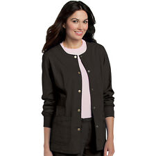 Scrubs Landau Womens Snap Front Warm-Up Jacket 3035  Black  FREE SHIPPING!