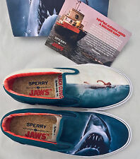 New Sperry Top-Sider x Jaws Striper Slip On Shark Attack Boat Shoe Movie Poster