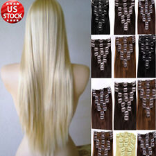 "Clip In Remy Human Hair Extensions Full Head CLEARANCE Long Weft Straight 22"" A8"