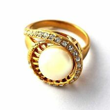 Vintage Womens Artificial Pearl CZ Yellow Gold Filled Band Ring Size 7 8 9