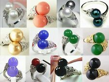 twins 8mm white black pink purple blue red green shell pearl jade 18 KGP ring