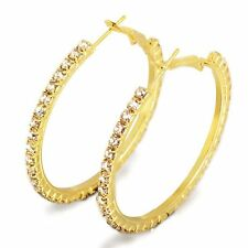 Charming 18K Yellow Gold Filled Crystal Womens Big Large Hoop Earrings 45mm/55mm