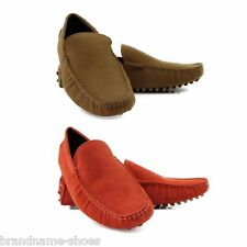 MENS ORANGE / CAMEL SLIP ON BOAT DECK SHOES SUEDE LEATHER CASUAL MEN'S LOAFERS