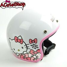 Hello Kitty Motorcycle 3/4 Helmet RETRO Polka Dot Ribbon White Sanrio