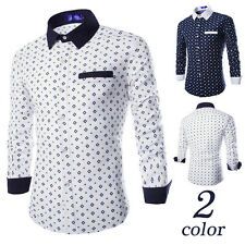 Mens Fashion Luxury Stylish Casual Long Sleeve Dress Shirts Slim Fit Shirts  LO