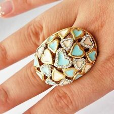 Fashion Womens Milky Blue Enamel Heart type Clear CZ Cocktail Band Ring Size 7-9