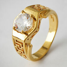 Eternity Women 14K gold filled Clear Round Crystal Promise Band Ring Size 7-9