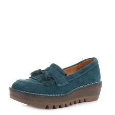 Womens Fly London Juno Petrol Blue Suede Platform Loafers Shoes Ladies Size 3-8
