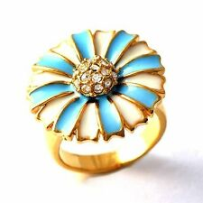 Womens Blue White Enamel CZ 14K gold filled Flower type Band Ring Size 6-9