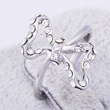 Womens Authentic Mystic silver plated Clear CZ Bow Band Rings Size 6 7 8