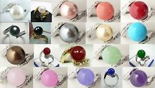 fashion 10mm white black pink red purple green blue shell pearl jade 18 KGP ring
