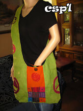 Spiral Design with Colorful Patchwork and Peace Signs Purse, hippie, handmade