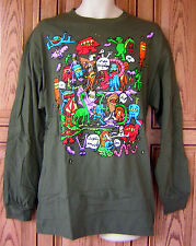 Volcom Monsters Allover I See The Future Olive Green T Shirt Skateboard PacSun B
