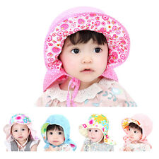 Floral Bonnet Kids Baby Girls Boys Cotton Flower Cap Summer Beach Bucket Sun Hat