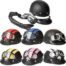 Retro 7 Color Motorcycle Helmet Half Open Face Helmet + Visor UV Goggles R6T8