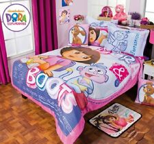 New Girls NICKELODEON DORA THE EXPLORER & BOOTS FLORAL Pink Comforter Sheet Set