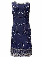 Ladies Vintage Gatsby Dress Tunic Top Evening 1920's Shift Dress Size 8 to 24