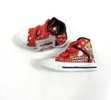 Disney Girls Infant Minnie Mouse High Top Trainers Shoes Boots Velcro UK 6-12
