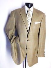 Joseph-Abboud-Mens Brown Windowpane  Sport-Coat Blazer 42L 3Button Silk /linen
