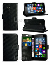 Carbon Fibre Design PU Leather Wallet Case Cover with Slots for Various Phone