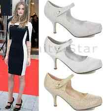 WOMENS LADIES LOW MID HIGH HEEL WEDDING BRIDAL PROM STILETTO COURT SHOES SIZE