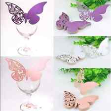 Lot 50X Butterfly Place Escort Wine Glass Paper Card for Wedding Party Bar Decor