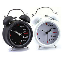 New Classic Number/English Retro Analogue Double Bell Desk Table Alarm Clock