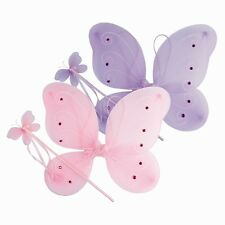 2XBUTTERFLY FAIRY WINGS AND WAND 2 PIECE FANCY DRESS UP GIRLS SET PARTY DRESSING