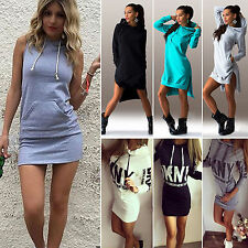 Womens Hooded Jumper Tops Sport Pullover Bodycon Short Hoodie Dress Plus Size