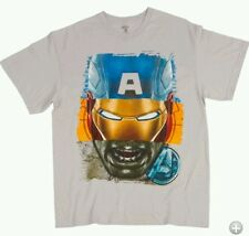 MARVEL CAPTAIN AMERICA, IRON MAN, HULK THE AVENGERS FACES T-SHIRT MEN'S SZ L - X