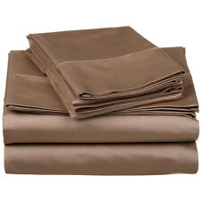 800TC 100% Pima Cotton Ultra Soft Taupe Solid 4PC Sheet Set All Size & Deep