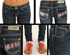 NWT ROCK & ROLL COWGIRL JUNIORS LOW RISE SKINNY STARS & STRIPES JEANS W07379