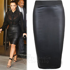 Womens Pencil Midi Wet Look Skirt Wiggle Bodycon High Waisted Faux Leather Celeb