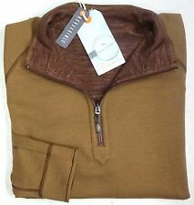New w/ Tags Tommy Bahama 1/4 Zip Reversible Sweater Mens L Brown Tan LS NWT