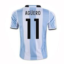 adidas Argentina 2016 Home Youth Jersey Short Sleeve Aguero 11 White/Blue 1605