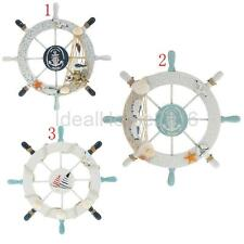 Nautical Beach Wooden Boat Ship Steering Wheel Fishing Net Shell Home Wall Decor