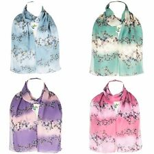 Ladies Women's Long Wrap Chiffon Style Shawl Scarf Butterflies Pattern Scarves