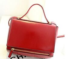 Square Top Handle Faux Leather Crossbody Satchel with Zip Handbag Black or Red