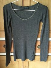 NEW TOAST Charcoal Grey Gold Lurex l/sl ribbed soft Jersey T Shirt Top M UK 12