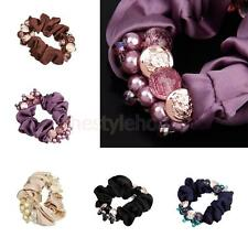 Women Flower Pearls Beads Hair Band Rope Scrunchies Ponytail Holder Headbands