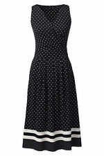 Lands End Women's Fit and Flare Dress Black Engineered Dots New