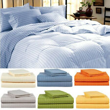 "Real 600TC 100% Egyptian Cotton Super Soft Striped 4PC Sheet Set 15""Deep CA Size"