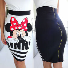 Ladies Womens Slim High Waist Skirts Minnie Mouse Print Bodycon Mini Dress Skirt