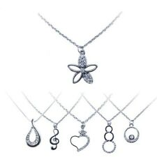 One Silver Chain with Pretty Pendant Clef Heart Flower Drop