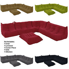 Downlow Sectional Set 5 Piece Set Sofa Loveseat Corner Chair and Ottoman COLORS