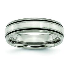 Chisel Titanium Grooved Sterling Silver Inlay 6mm Brushed/Polished Band Ring TB1