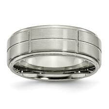Chisel Titanium Grooved Ridged Edge 8mm Satin and Polished Band Ring TB187