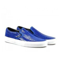 Vans Classic Slip On (Snake Leather) Blue WOMEN'S Skate Shoes Casual