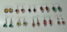 Silver Earrings 925 Women Girls Simulated Gemstone Hook Statement Citrine