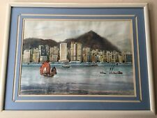"K.C Cheng '86 Original Watercolor Harbor Scenes, Signed, Framed, 22"" x 16"""